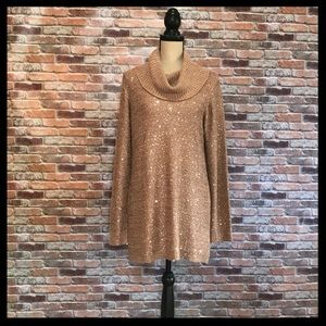 Soft Surroundings Claire Cowl Neck Sequin Sweater